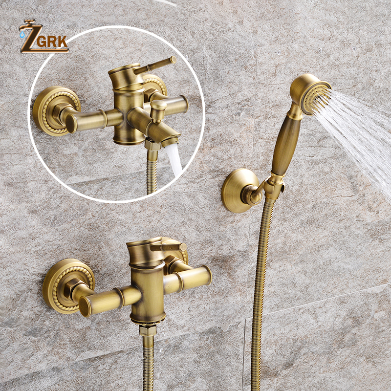 ZGRK Shower Faucets Brass Golden Wall Mounted Rainfall Bathroom Faucet Big Round Shower Head Handheld Bathtub