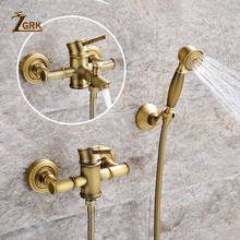 ZGRK Shower Faucets Brass Golden Wall Mounted Rainfall Bathroom Faucet Big Round Shower Head Handheld Bathtub Mixer Tap Set zgrk shower faucets brass golden wall mounted rainfall bathroom faucet big round shower head handheld bathtub mixer tap set