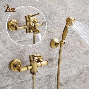 цена на ZGRK Shower Faucets Brass Golden Wall Mounted Rainfall Bathroom Faucet Big Round Shower Head Handheld Bathtub Mixer Tap Set