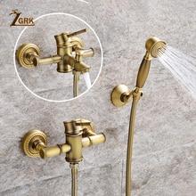ZGRK מקלחת ברזי פליז זהב קיר רכוב גשם אמבטיה ברז גדול עגול מקלחת ראש כף יד אמבטיה מיקסר ברז סט