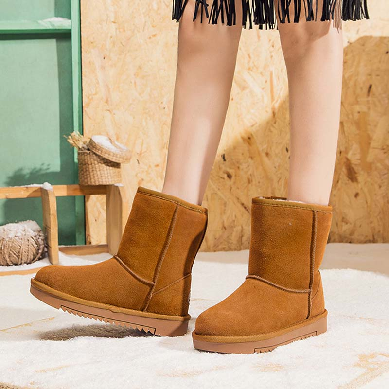 Winter Warm <font><b>Shoes</b></font> Women Fashion Brand <font><b>Maroon</b></font> Snow Boots Lady chaussure Female Real Leather footware Girl Boots Mid Calf Black