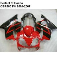 ABS plastic fairing for Honda CBR 600 F4i 04 05 06 07 red black fairings kit CBR600F4i 2004 2005 2006 2007 OL143