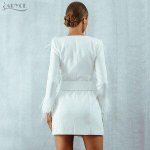 Image 5 - Adyce 2020 新冬の女性のトレンチコートカジュアル長袖セクシーなディープ V ネック羽スリムベルトホワイトクラブパーティーコート vestidos