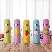 Büro Thermocup kaffeetasse mit früchten druck, saugnapf wasserflasche mit becher, 350 ml 500 ml tragbare thermoskanne