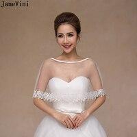 c73e87c1f8079 JaneVini Simple Cheap Summer White Wedding Cape Lace Appliques Shrug Shawl  Women Bolero Wraps Jackets Brides