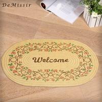 DeMissir 51x76cm Jute Linen Braided Oval Welcome Carpet Floor Door Mat Living Room Anti Slip Floral