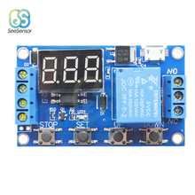 DC 6-30V LED Digital Micro USB 5V Automation Cycle Delay Timer Control Off Switch Delay Time Relay 6V 9V 12V 24V dh48s 1z dh48s 0 01s 99h99m ac dc 12v 24v cycle on delay spdt reset pause digital led time relay switch timer din rail base hot