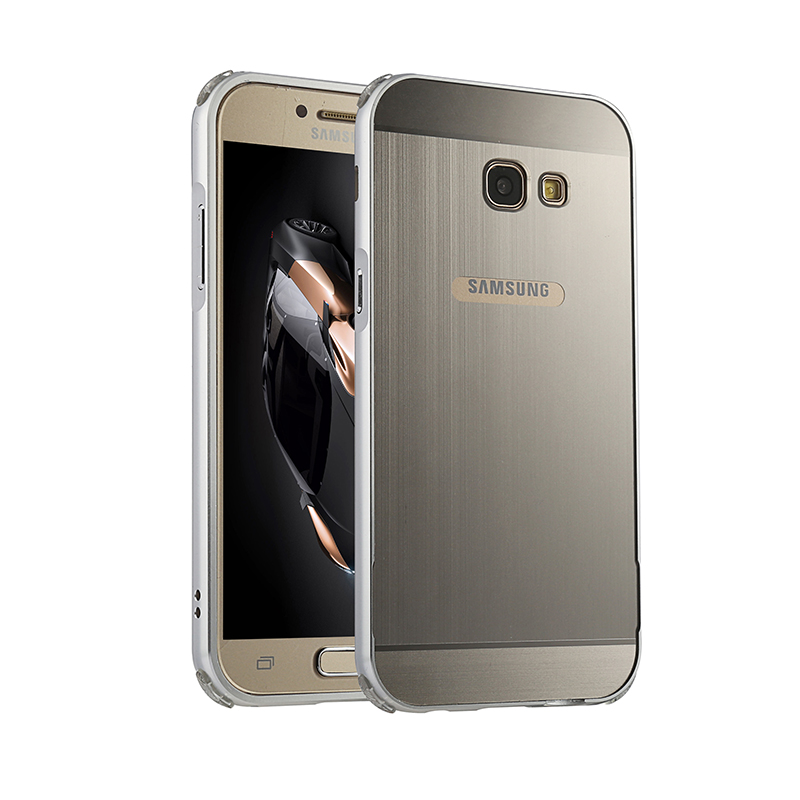 For Samsung Galaxy A5 A3 A7 2017 Case Metal Aluminum Bumper Brushed PC Back Hard Cover A320 A520 A720 Thin Coque