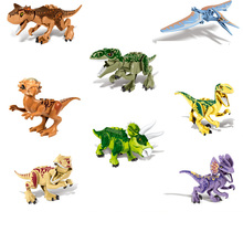 hot deal buy jurassic world 2 park triangle dragon  other 8 kinds of dinosaur children's model building blocks toys compatible with brand toy