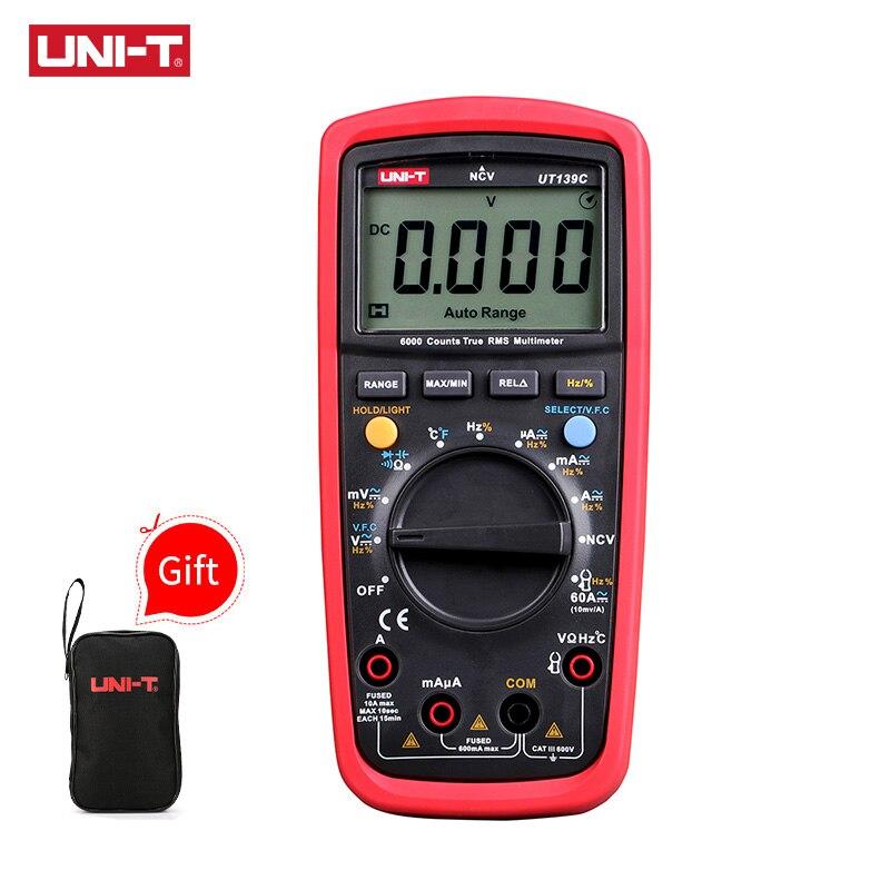 UNI-T UT139C multímetro Digital Auto rango True RMS medidor Handheld Tester 6000 Conde voltímetro temperatura prueba transistor