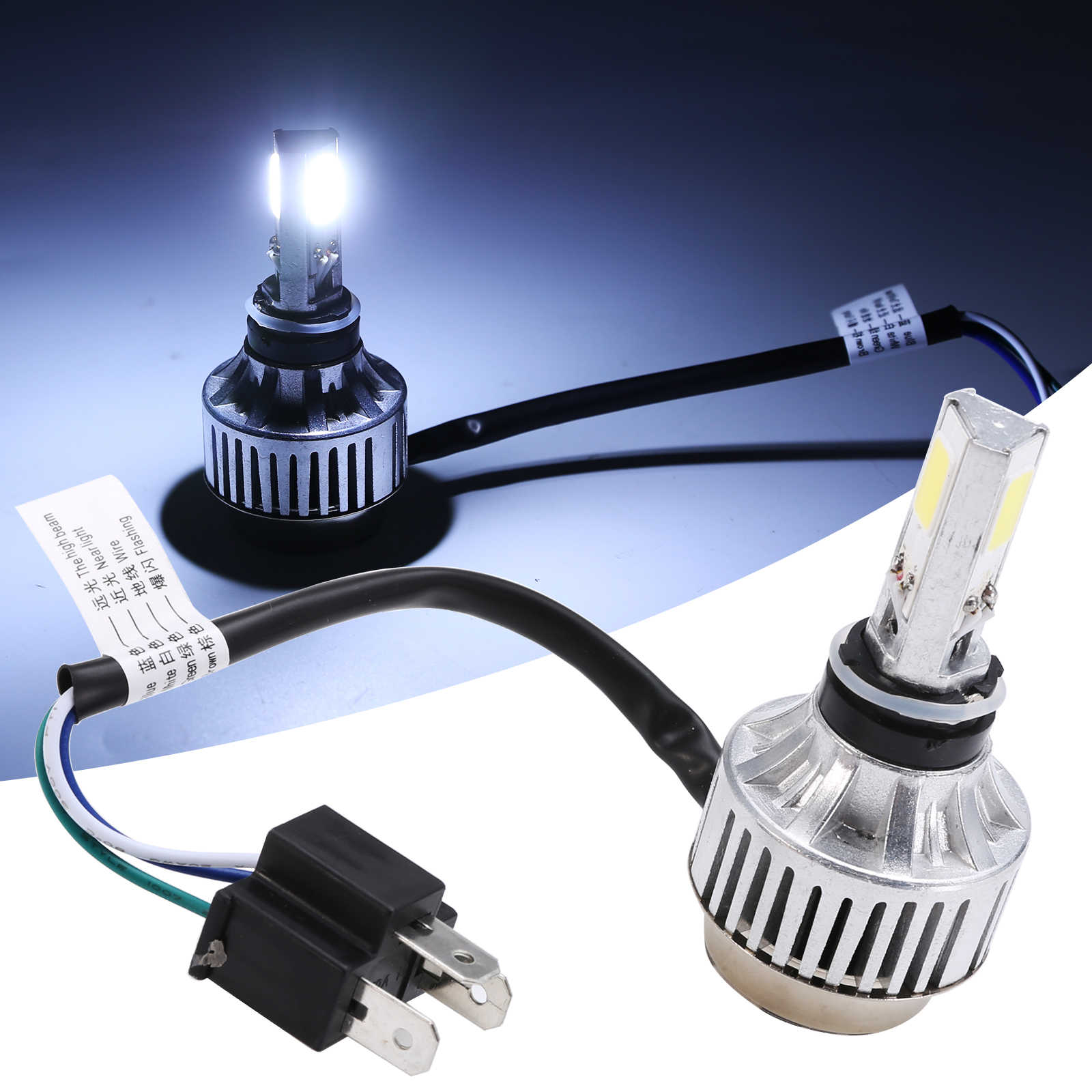 1 Set H4 BA20D LED Hi/Lo Beam Motorcycle Headlight Front Light Lamp Bulb 6500K Motor White Headlamp Aluminum Alloy Housing