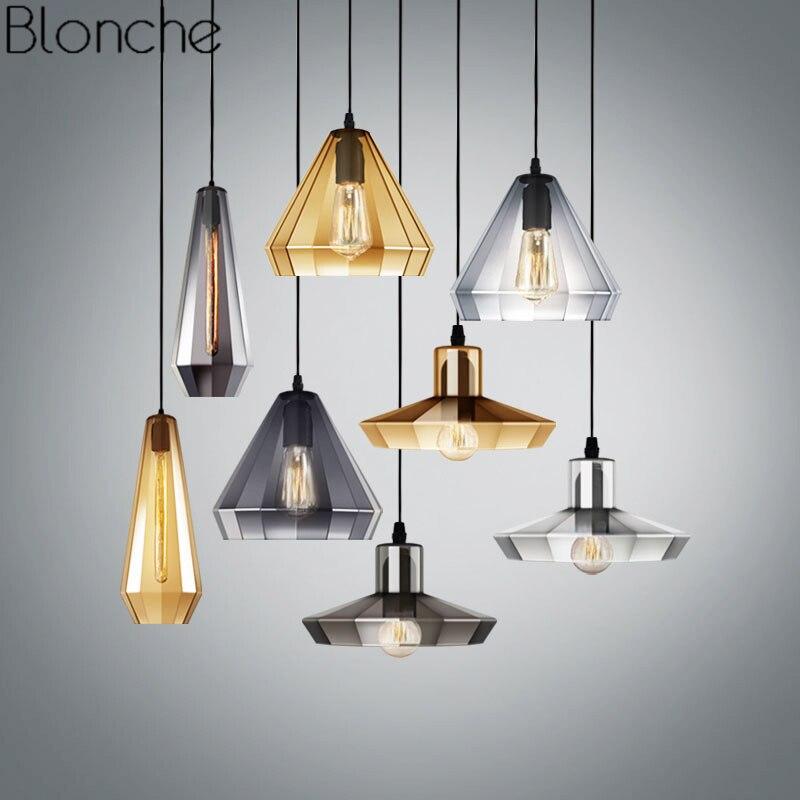 Modern Crystal Glass Pendant Lights Vintage Led E27 Hanging Lamp Nordic Loft Industrial Lighting Fixtures For Kitchen Home Decor