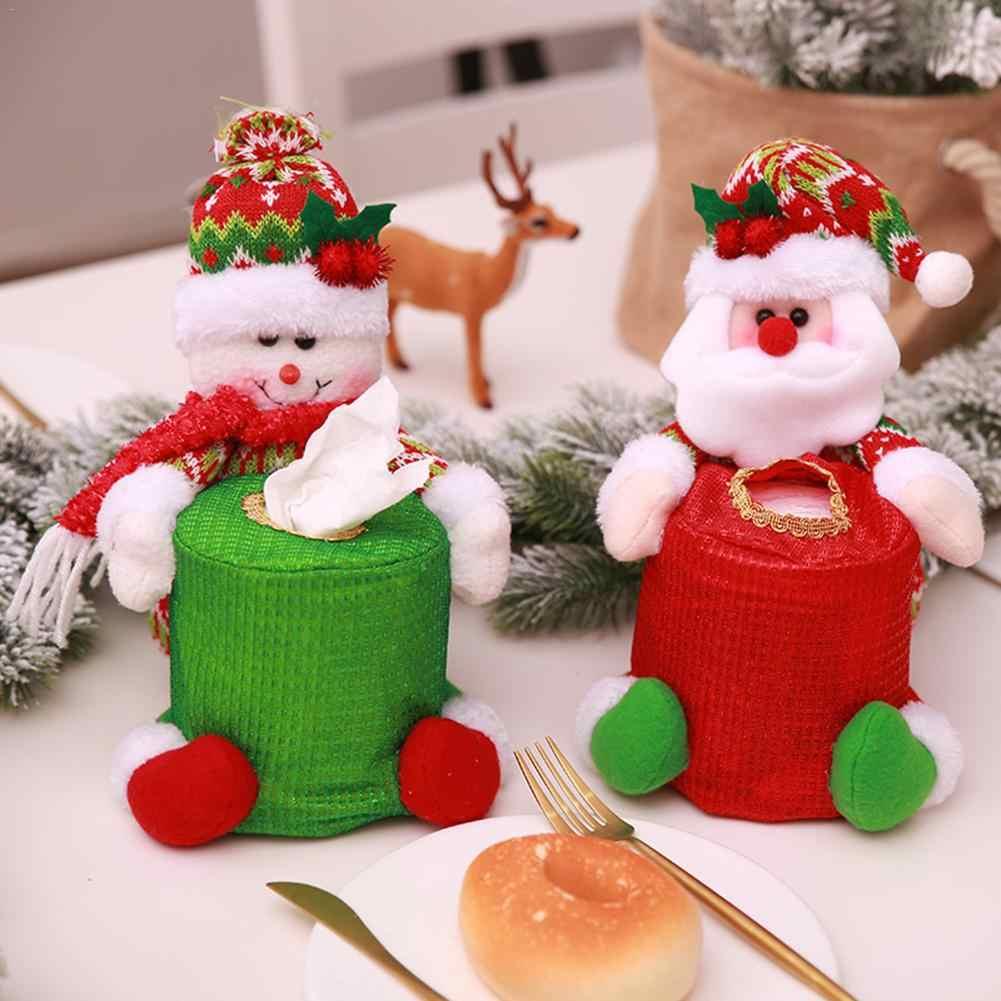 Christmas Diy Decor Santa Claus Snowman Round Paper Towel Storage Bag Paper Towel Cover Christmas Table Decoration Aliexpress
