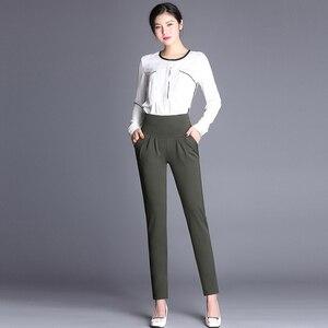 Image 4 - Plus Size High Waist Pants Women Vintage Pleated Harem Pants Loose Trousers Stretch Casual Office Pants Female Pantalon Mujer