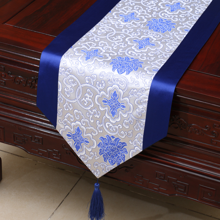 Damask tablecloth table runner blue white Chinese traditional home decor bed cover