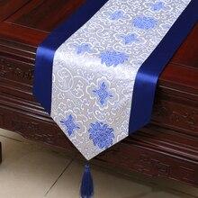 Damast tischdecke tischläufer blau weiß Chinesische traditionelle home decor bed abdeckung