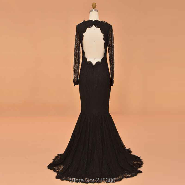 Modest Black Mermaid Prom Dresses Long Sleeves Boat Neck Lace ...