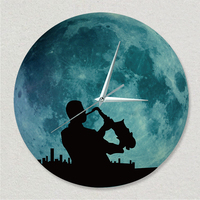 Funlife(TM) Glow in the Dark Moon Wall Clock, Funlife Luminous Moon Wall Clock with Music Man Sticker Decal Clock on Wall Clocks