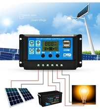 10A 20A 30A Solar Charge Controller 12V 24V Auto Output Solar Cell Panel Regulator LCD Dual USB Home Battery Charger pwm 10a 20a 30a solar charge controller 12v 24v auto with lcd display usb output solar cell panel regulator pv home solar system
