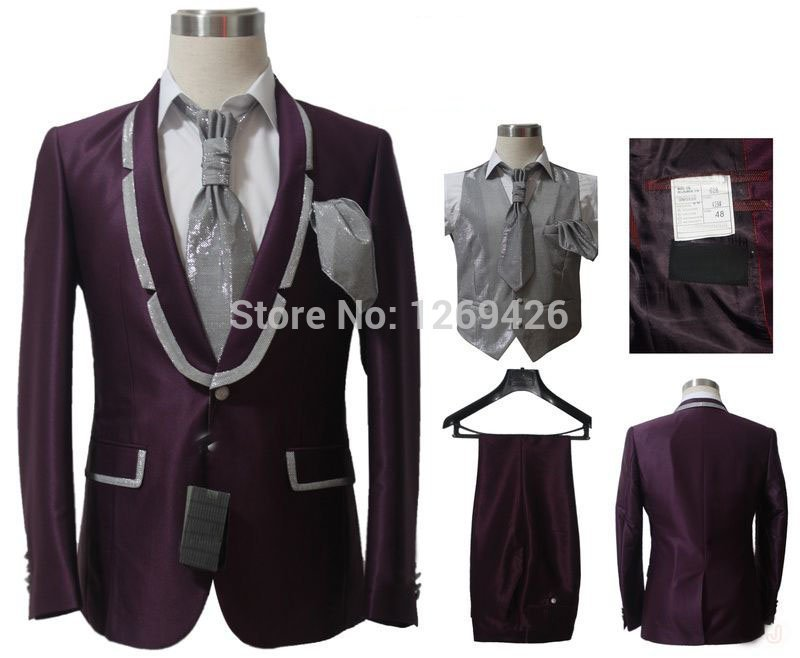 Unique Design Clothing | Unique Design Fashion 5 Pieces Design Groom Wedding Suit Purple Coat