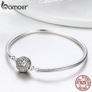 Image 4 - COUPON SAVE $2 100% 925 Sterling Silver Dazzling Clear CZ Round Clasp Snake Chain Bracelet Sterling Silver Jewelry SCB062