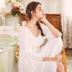 Высокая талия с расклешенными рукавами длинная белая ночная рубашка Для женщин ночь платье принцессы Ночная Для женщин Фея средневековой