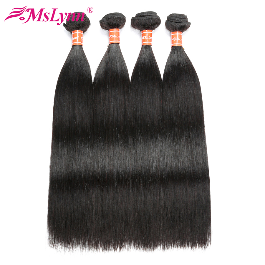 Mslynn Hair 4 Bundle Deals Brazilian Straight Hair Bundles Human Hair Weave Non Remy Hair Extension Natural Color 8-28 Inch