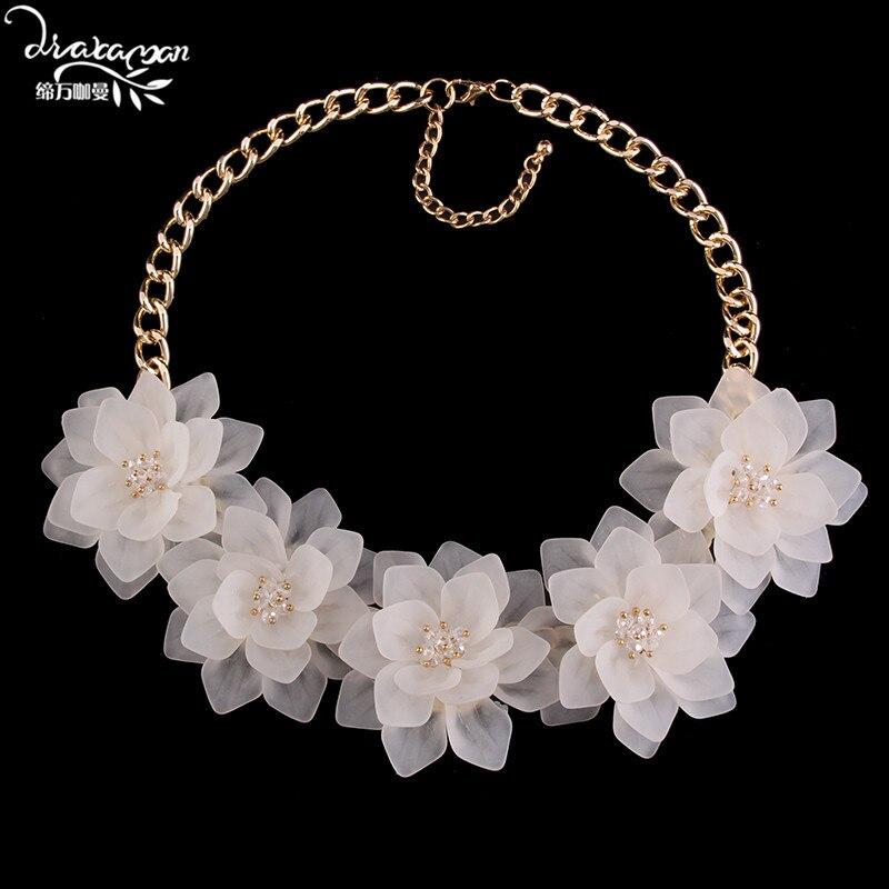 Prix pour Dvacaman marque 2017 za fleur déclaration collier femmes pas cher boho maxi pendentif collier choker collier bijoux de noël cadeau c16