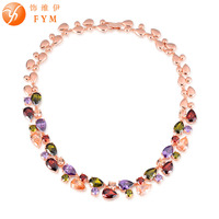 Casi New Luxury Cubic Zirconia Colorful Stone Wedding Necklaces Chokers Rose Gold Plated Gifts Jewelry For