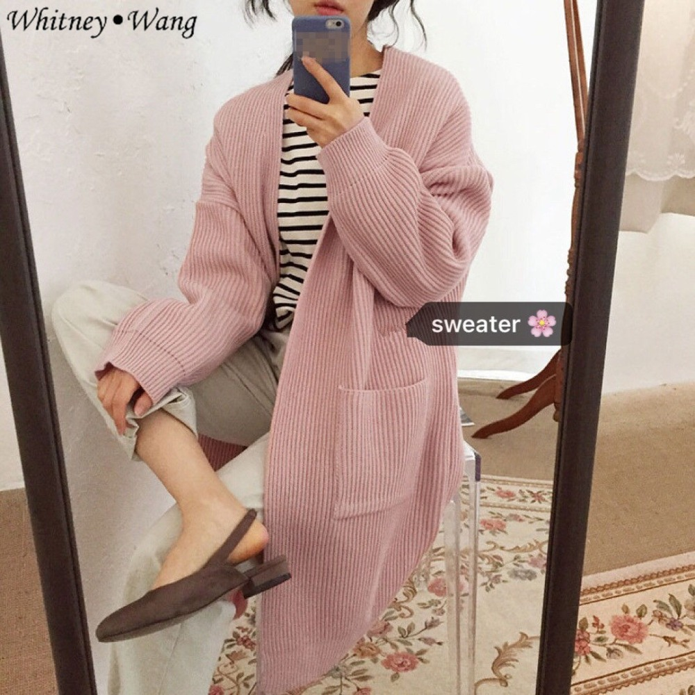 Femmes Streetwear Chandail Pull Cardigans Cardigan Solide Automne 2018 Wang Hiver Jumper Long Femme Whitney Couleur Mode qwxXPqv