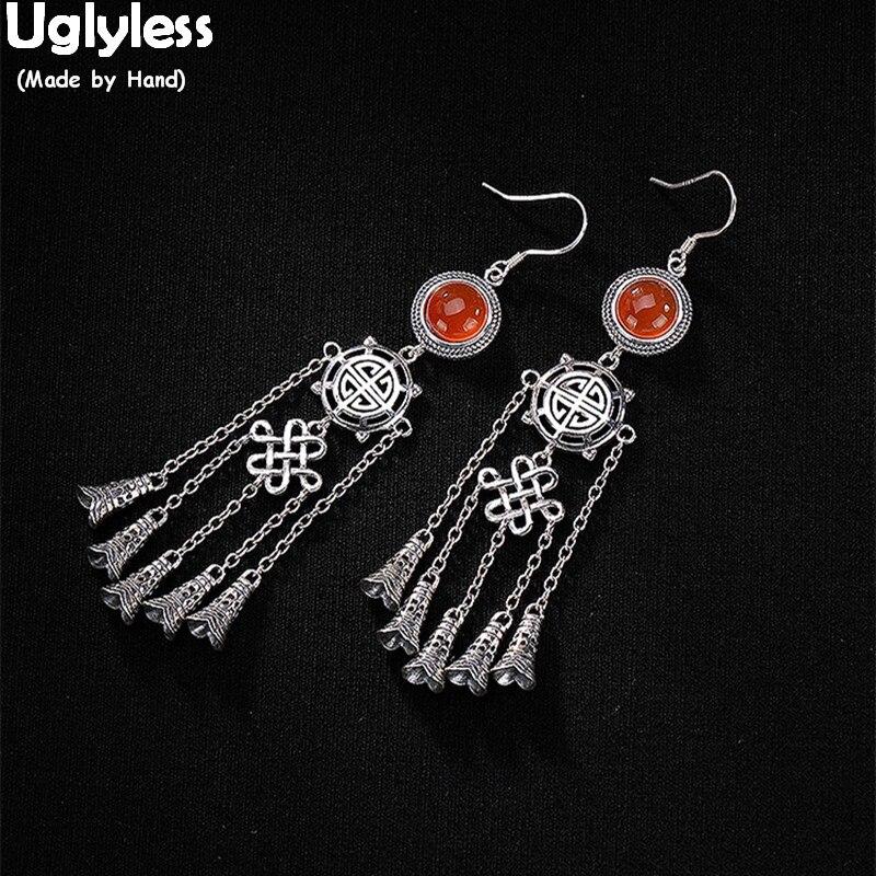 Uglyless Women Ethnic Gemstones Earrings Handmade Bells Tassel Earrings Solid 925 Silver Exotic Fine Jewelry Bohemian Jewellery