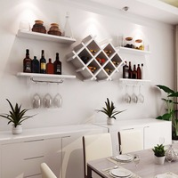 Goplus Set of 5 Wall Mount Wine Rack Set w/ Storage Shelves and Glass Holder White Modern kitchen furniture HW57392WH