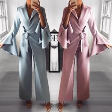2018 2019 Spring Irregular Flared Sleeve Long Rompers Formal Knot Side Wide Leg Jumpsuit raglan sleeve knot side blouse
