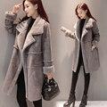 2016 Новых женщин Куртка искусственный мех кролика длинное пальто зимняя шерсть пиджаки моды стиль для девочек