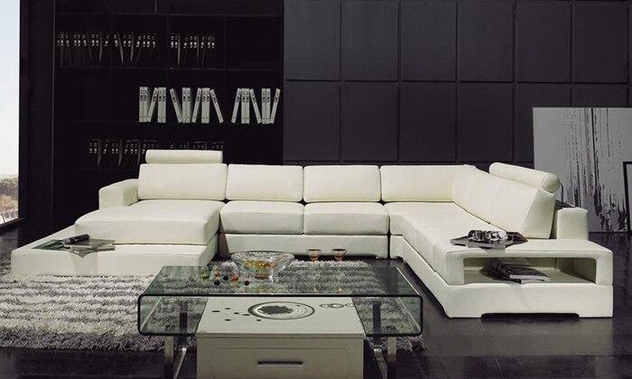 Latest Modern Design Sofa U Shaped Corner With LED Light Storage Rack Functional Set