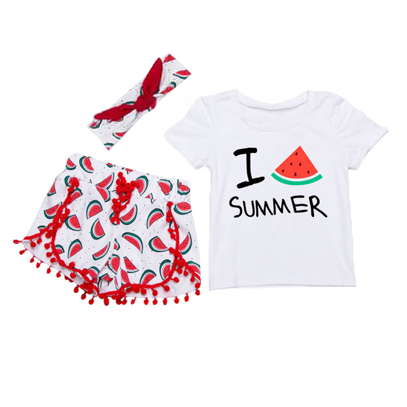 3PCS Kids Clothes Girls Clothing Sets Baby Clothes High Quality Toddler Girl Tshirts+Watermelon Shorts+Headband Girl Outfits 3pcs outfit infantil girls clothes toddler baby girl plaid ruffled tops kids girls denim shorts cute headband summer outfits set