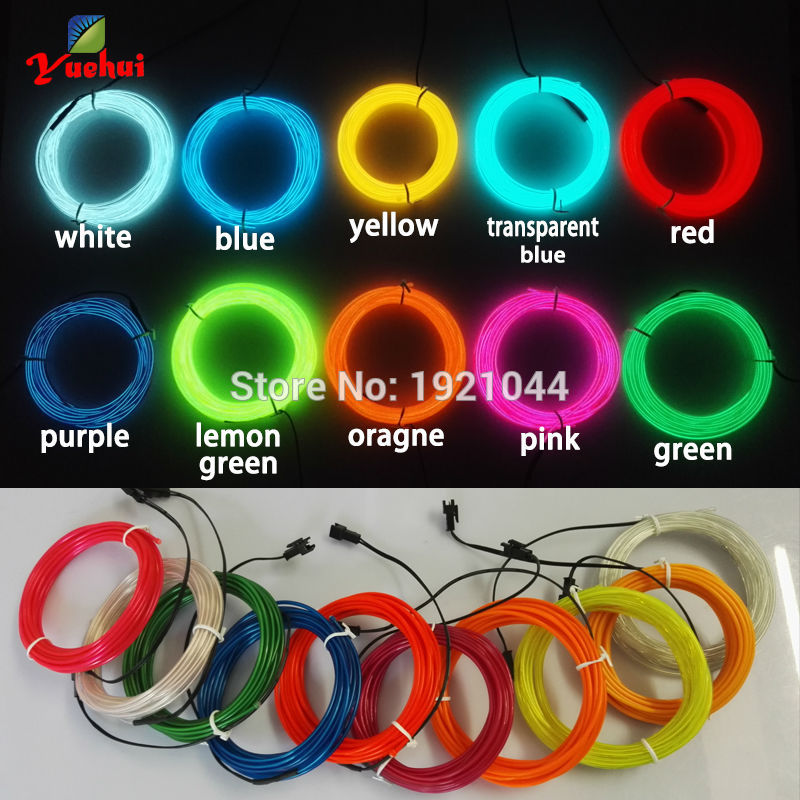 2017 New Popular 2.3mm EL Wire Rope Tube 10 Color Available With LED Neon light Powered By 2-AA Batteries For Wedding Decoration
