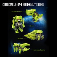 Solar toys 4 In 1 educational solar kit ransformation Jurassic World Dinosaur Insect Driller Robot DIY toys for children