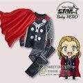 Vestuário de moda infantil Define Meninos Tracksuits Esporte terno 2 piece Avengers Alliance Capitão América Spiderman Com Capuz de Lã
