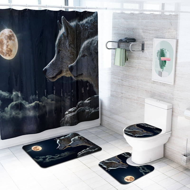 Shower Curtain 4Pcs Lion Home Decor Bathroom Pad Toilet Seat Cover Bath Mat