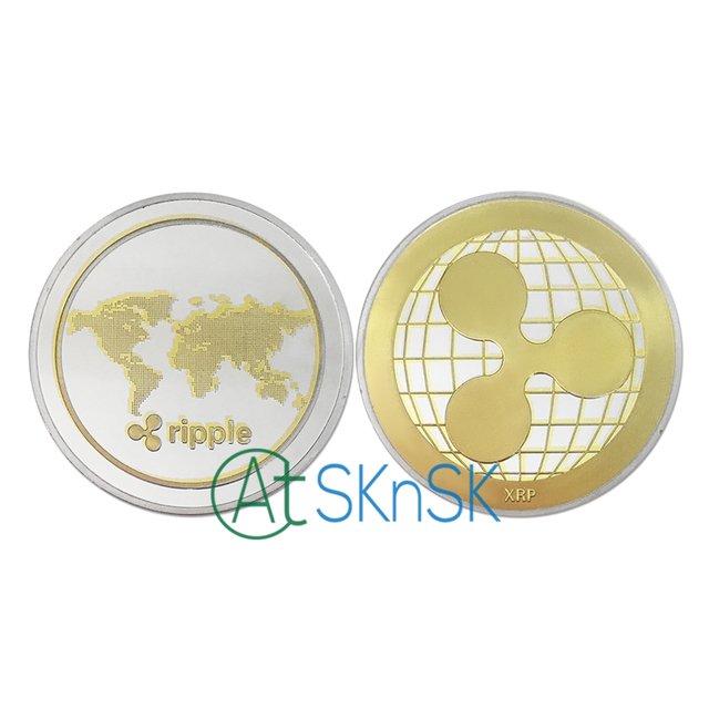 1-10pcs Virtual currency commemorative coins for gift XRP Ripple crypto currency gold and silver plated coin collectible BitCoin