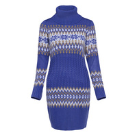 Sisjuly New 2017 Autumn Women Casual Royal Blue Bodycon Sheath Sweater Dresses Above Knee Pullover Party