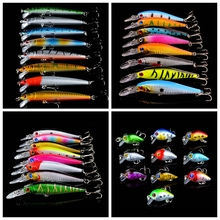 New 159pcs/lot Fishing Lures Set Mixed 19 Different Model Hard Baits Artificial Lifelike Bass Crankbait Fishing Tackle Wholesale