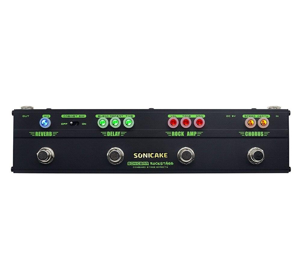 Sonicake Guitare Effets Pédale Rock Stade 4 dans 1 Multi Effets Guitare Pédale Avec Modèle Chœur Distorsion Retard Réverbération QCE-10