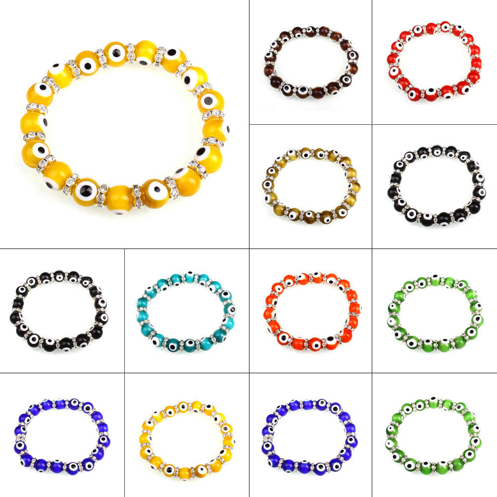 YYW New Wholesale Ethnic Evil Eye Rhinestone Religious Jewelry Bracelet Colorful 10mm Handmade Lampwork Turkish Bracelets Woman