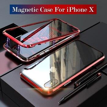 f2060f4bb5f Funda magnética para iPhone X iPhoneX i 10 funda protectora de teléfono  adsorción Coque Fundas abatibles de Metal Fundas de parachoques para mujer  chica ...