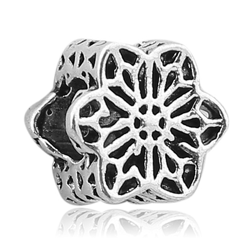 0e03f30c0 Free Shipping 1pc Silver Plated FLORAL DAISY LACE Charms Large Hole Bead  fit pulseira Pandora Charm Bracelets Jewelry