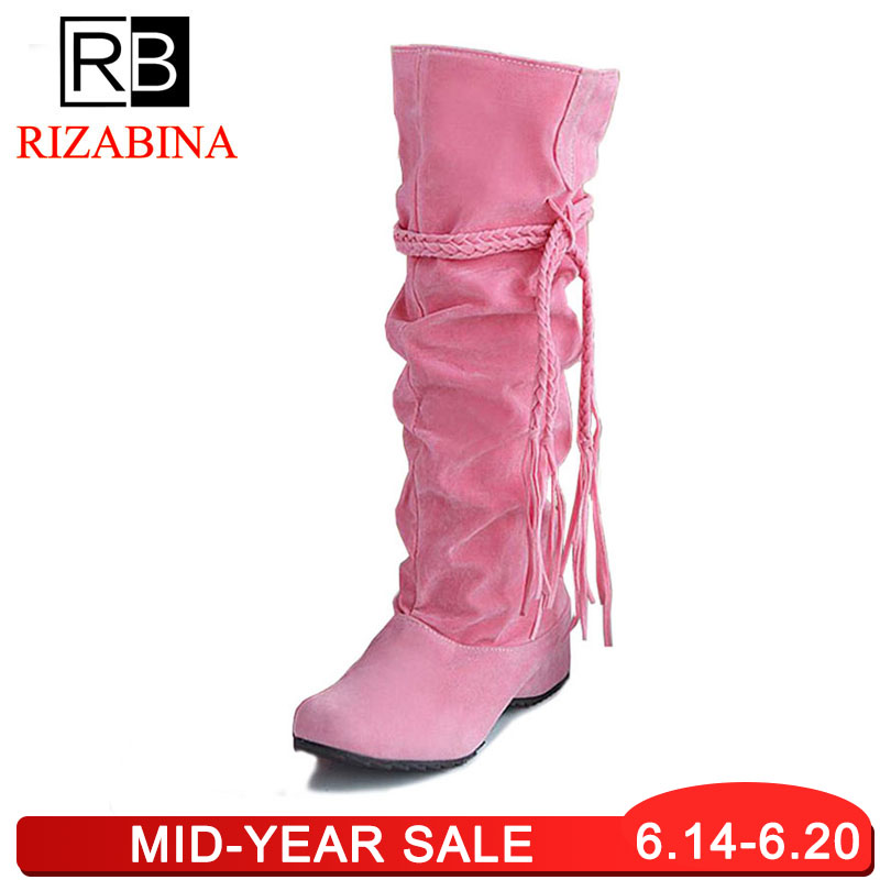 RizaBina women flat over knee boots ladies riding long snow boot warm winter brand botas footwear shoes P16046 EUR size 34-43