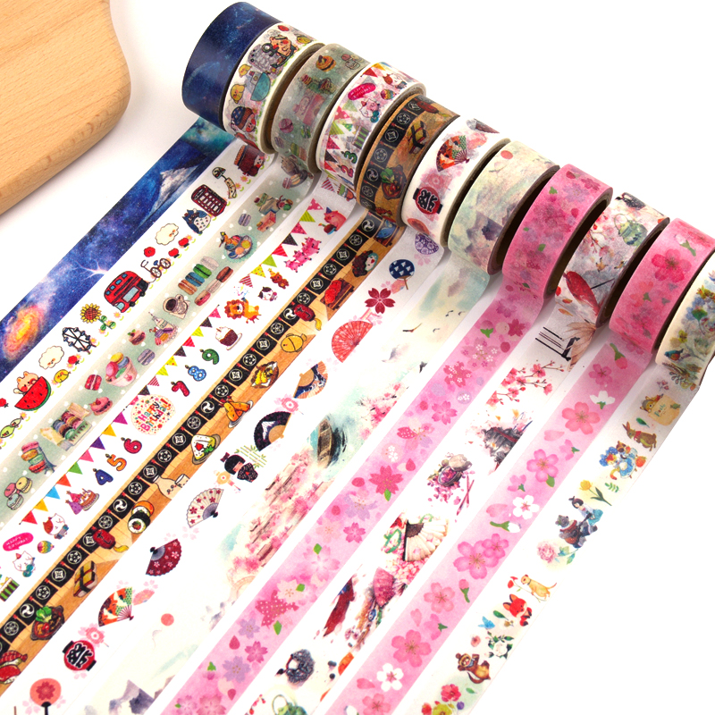 Cute Kawaii Flowers Animal Japanese Paper Washi Tape Adhesive Decorative Tape Dailyland Diy Scrapbooking Masking Tape Stationery 12 colors set cute macaron series diy masking tape pure color japanese washi tape diary decor paper stickers kawaii stationery
