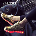 Spansee tamanho 30-45 led shoes tênis com sola de luz brilhante levou chinelos luminosos tênis shoes fazer infantil cesta femme crianças